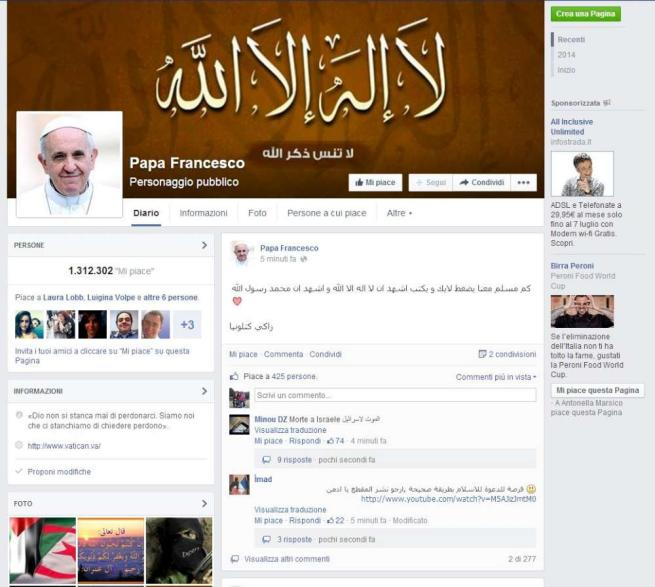 Insulti e bestemmie sulla pagina Facebook di Papa Francesco: è opera di hacker islamici
