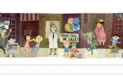 """Doodle per Jonas Salk, """"l'uomo dei miracoli"""" che sconfisse la poliomelite"""