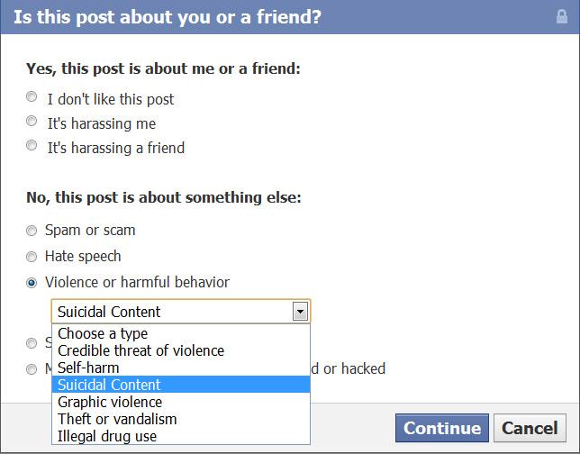Facebook segnalazioni contro il suicidio