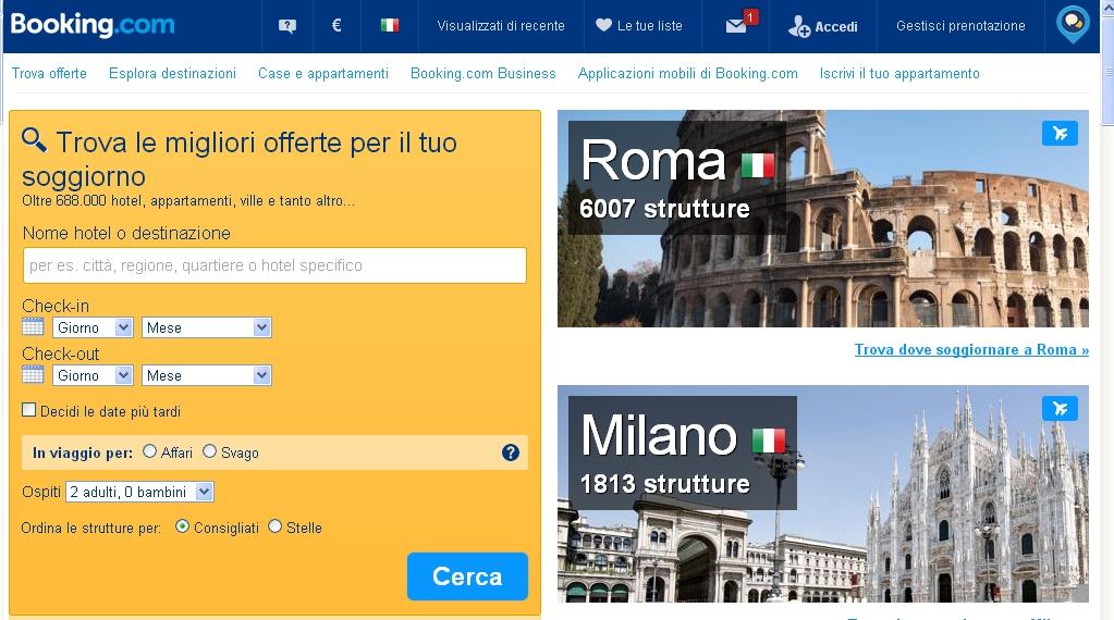 booking.com siti di viaggi