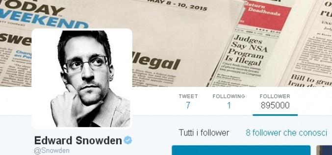 Edward Snowden sbarca su Twitter