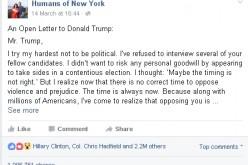 Critica a Donald Trump su Facebook ottiene il record di like