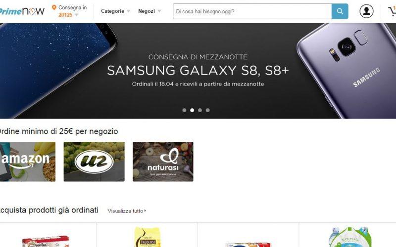 Samsung Galaxy S8 e S8+ in consegna stanotte a Milano con Amazon Prime Now