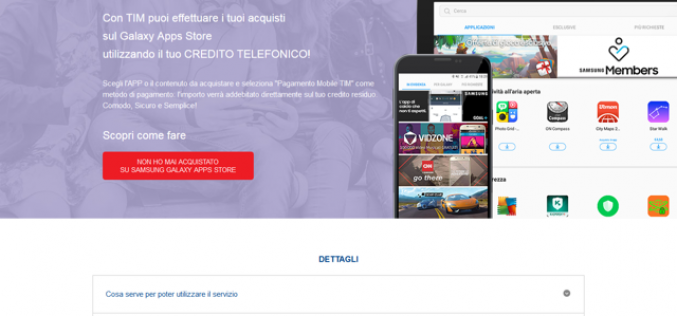 TIM e Samsung: al via il servizio di carrier billing