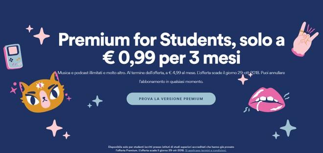 Spotify lancia la promozione Premium for Students