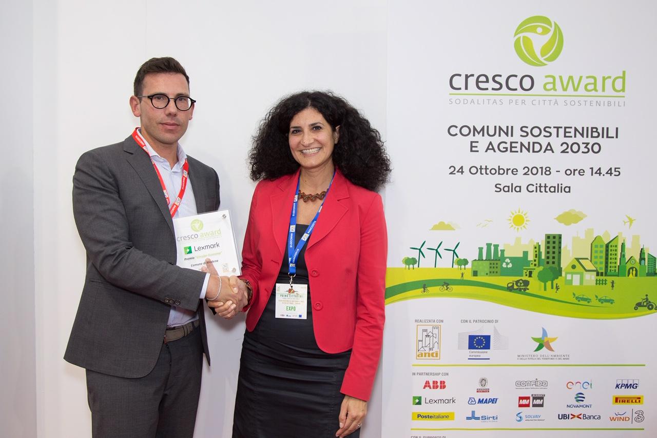 """Il Premio Lexmark """"Circular Economy"""" va al Comune di Modena"""