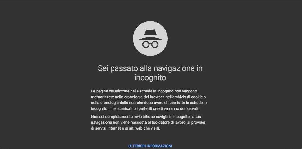 Chrome navigazione in incognito