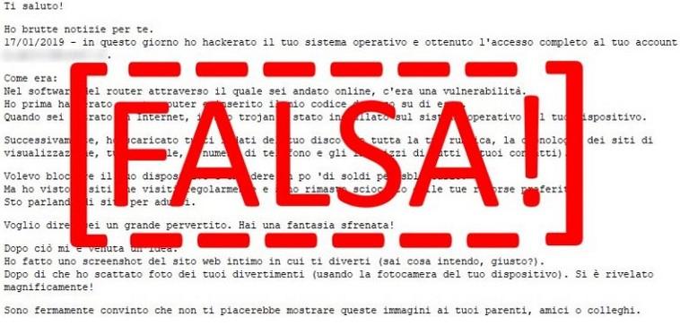 Nuova campagna di spam estorsivo ai danni degli utenti italiani