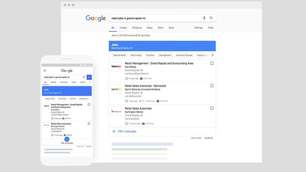 Google mostra le offerte di lavoro