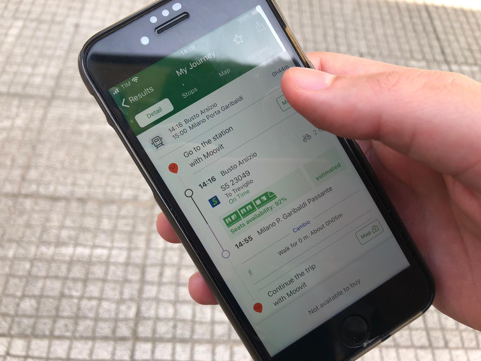 Trenord, l'app mostra la disponibilità di posti sul treno in arrivo