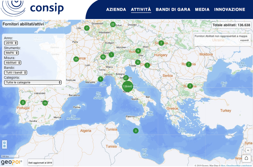 Consip, al via la mappa georeferenziata dei fornitori della PA