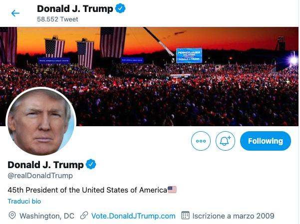 Trump perderà l'immunità su Twitter dopo la presidenza