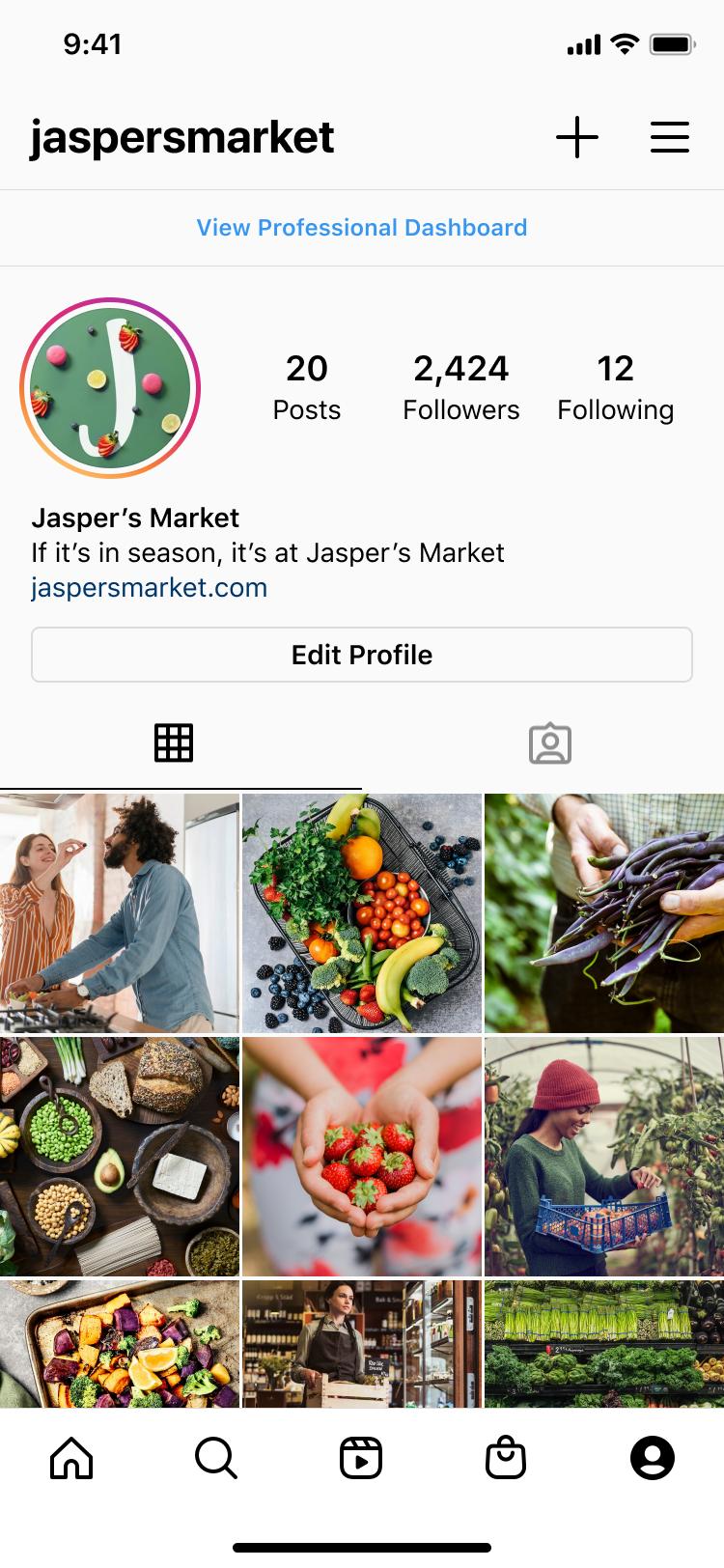 Instagram dashboard per Professionisti business iso entry